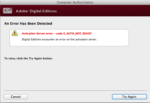 Activation Error CODE E AUTH NOT READY