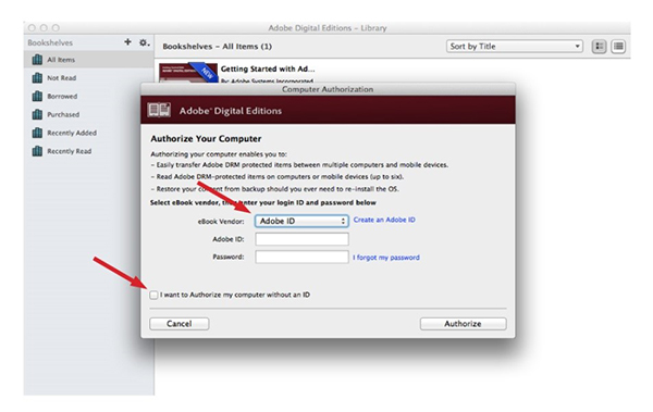 Authorize Adobe Digital Editions