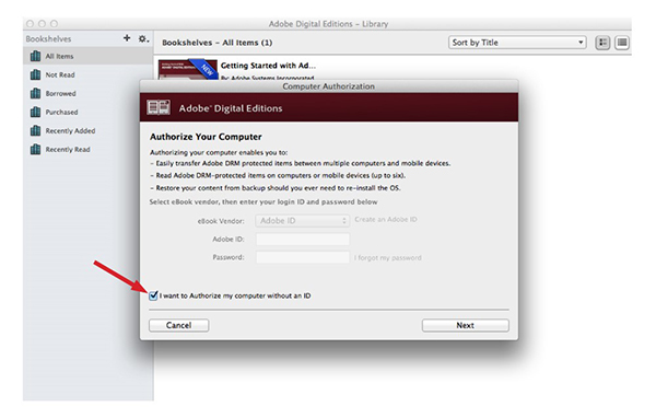 Anonymous Authorization in Adobe Digital Editions