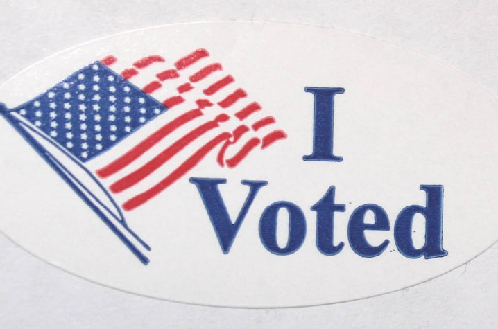 A sticker reading I Voted, commonly handed out to voters.