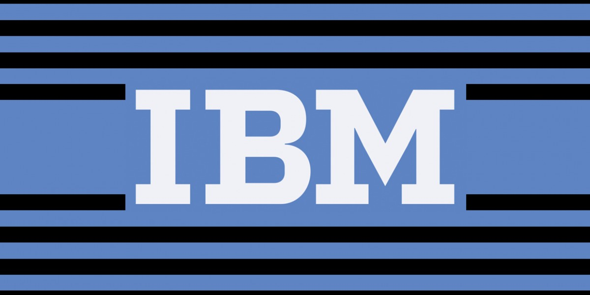 IBM on purple background with black stripes.