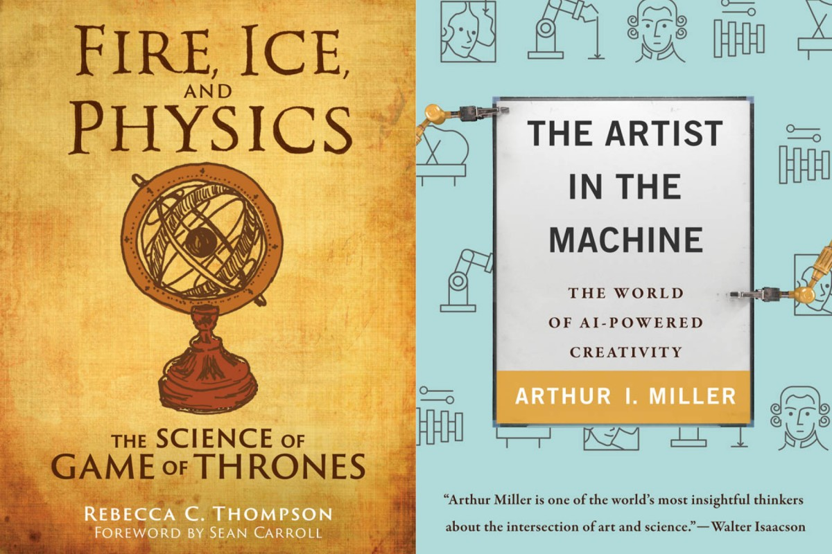 the jacket images of Fire, Ice, and Physics and The Artist in the Machine are side by side.