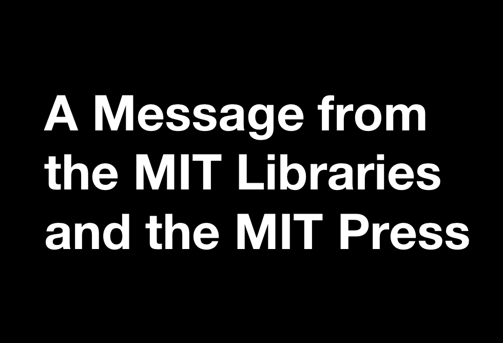 A message from the MIT Press