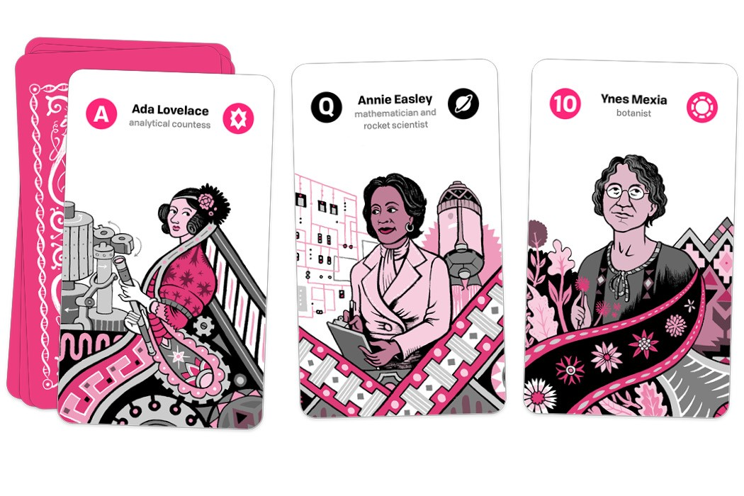Tarot cards featuring Ada Lovelace, Annie Easley, and Ynes Mexia