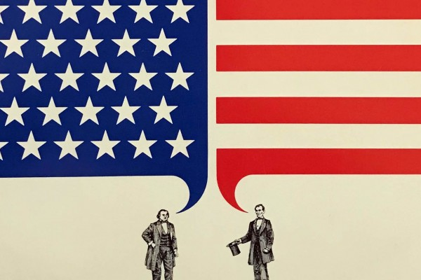 A detail from the album cover for The Sound and the Fury! Political Debate in America that shows two people with speech bubbles, one filled with stars, one filled with stars.
