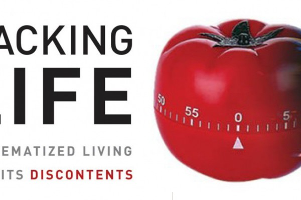 The image has a tomato timer and the words Hacking LIfe: Systematized LIving and Its Discontents.