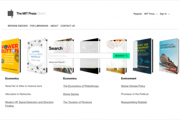 A screenshot of the MIT Press Direct interface showing book samples and subject collection headers.