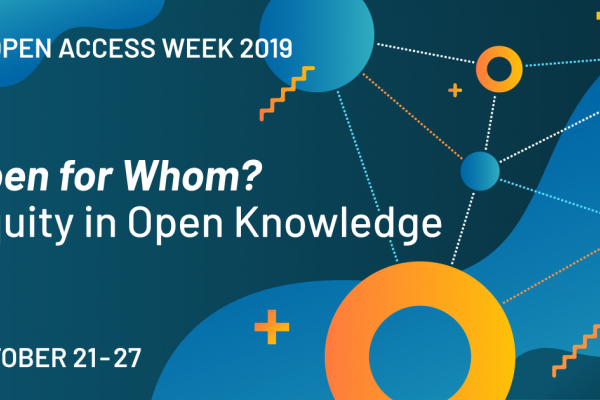 "Open Access Week logo reads ""Open for Whom?"""